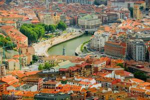 Elevated view of Bilbao, Spain (Bilbo) and river Ibaizabal