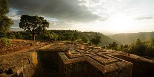 Elevated View of Church of Saint George, Lalibela, Ethiopia