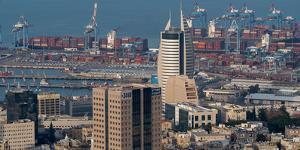 Elevated view of cityscape, Haifa, Israel