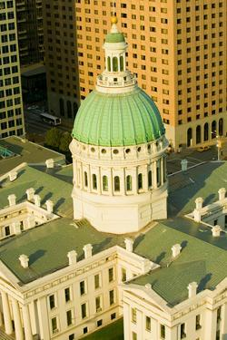 Elevated view of dome of Saint Louis Historical Old Courthouse, Federal Style architecture built...