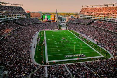 Elevated view of Gillette Stadium, home of Super Bowl champs, New England Patriots, NFL Team pla...