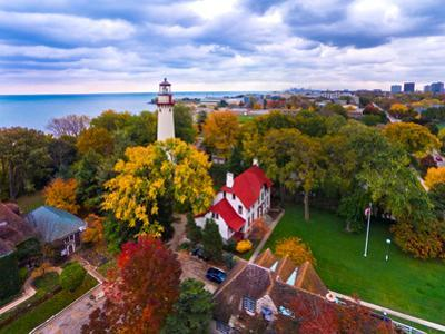 Elevated view of Grosse Point Lighthouse in Evanston, Cook County, Illinois, USA