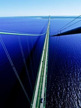 Elevated view of Mackinac Bridge, Mackinac, Michigan, USA