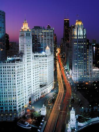 Elevated view of Michigan Avenue at dusk, Chicago, Cook County, Illinois, USA