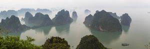 Elevated view of misty Ha Long Bay, Quang Ninh Province, Vietnam