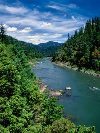 Elevated view of river passing through a forest, Rogue River, Two Mile Rapids, Wild Rogue Wilder...