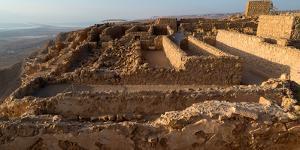 Elevated view of ruins of fort, Masada, Israel