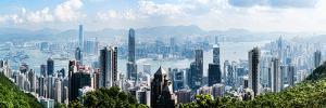 Elevated View of Skylines, Hong Kong, China
