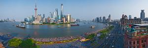 Elevated View of Skylines, Oriental Pearl Tower, the Bund, Pudong, Huangpu River, Shanghai, China