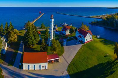 Elevated view of Sturgeon Bay Canal Lighthouse, Sturgeon Bay, Door County, Wisconsin, USA