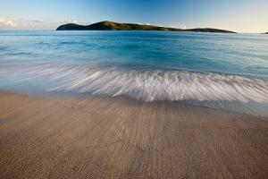 Elevated View of Surf on Beach at Sunset, Culebra Island, Puerto Rico