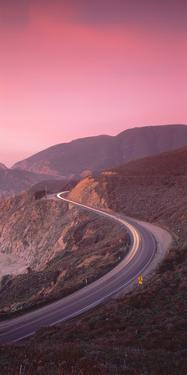 Elevated view of the California State Route 1 at dusk, Pacific Coast, California, USA