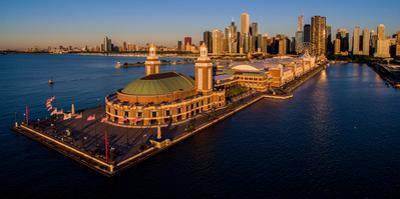 Elevated view of the Navy Pier, Chicago, Illinois, USA