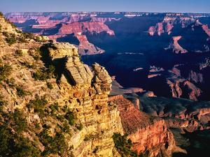 Elevated view of the rock formations in a canyon, Mather Point, South Rim, Grand Canyon National...