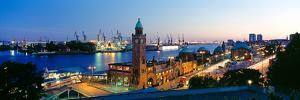 Elevated View of the St. Pauli Piers and Port of Hamburg, Elbe River, Hamburg, Germany