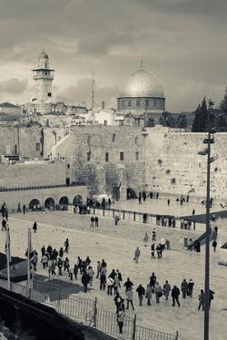 Elevated view of the Western Wall Plaza, Jewish Quarter, Old City, Jerusalem, Israel
