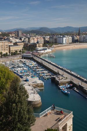 Elevated view of town waterfront, San Sebastian, Guipuzcoa Province, Basque Country Region, Spain