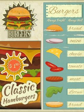 Burgers Menu Set Retro by elfivetrov