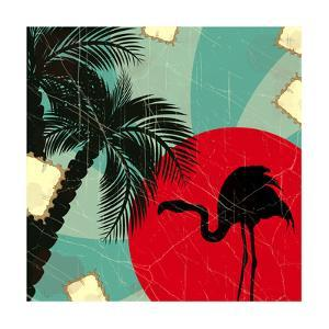 Retro Blue Tropical Background With Flamingo by elfivetrov