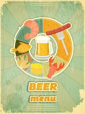 Retro Cover Menu For Beer by elfivetrov