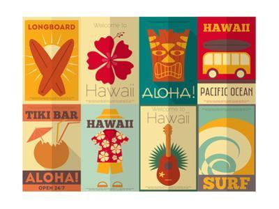 Retro Hawaii Posters Collection by elfivetrov