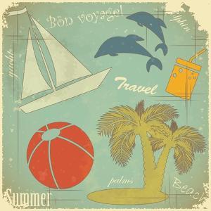 Retro Travel Postcard by elfivetrov