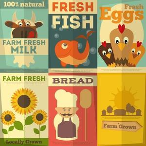 Set of Posters for Organic Farm Food by elfivetrov
