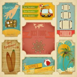 Set Of Retro Summer Labels by elfivetrov