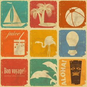 Set Of Vintage Travel Labels by elfivetrov