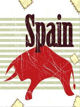 Spanish Bull On Grungy Background by elfivetrov