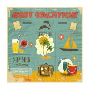 Summer Card In Retro Style by elfivetrov