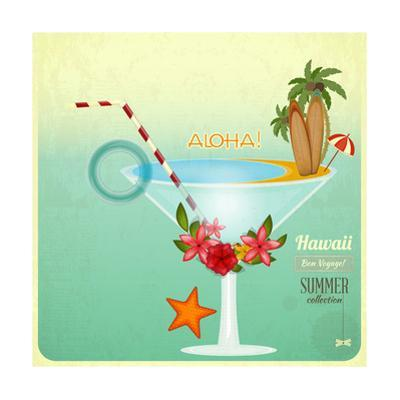 Summer Cocktail Card In Retro Style by elfivetrov