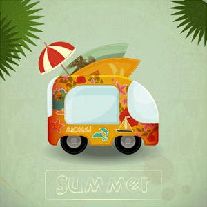 Summer Travel Bus In Retro Style by elfivetrov