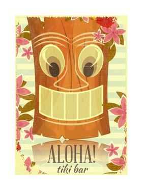 Vintage Hawaiian Tiki Postcard by elfivetrov