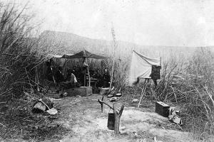 First Camp of the John Wesley Powell Expedition, in the Willows, Green River, Wyoming, 1871 by Elias Olcott Beaman