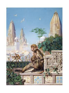 Painting of Rhesus Monkeys in an Indian Cityscape by Elie Cheverlange