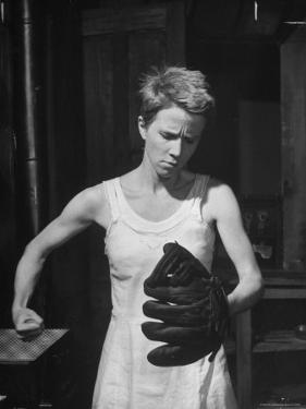 """Actress Julie Harris, Punching a Baseball Glove in Scene from Play """"Member of the Wedding"""" by Eliot Elisofon"""