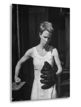 "Actress Julie Harris, Punching a Baseball Glove in Scene from Play ""Member of the Wedding"" by Eliot Elisofon"