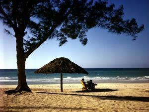 Beachgoers Relaxing at Veradero Beach in Cuba by Eliot Elisofon
