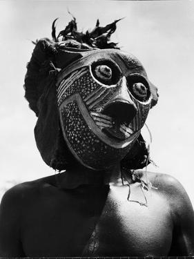 Bopende Tribesman of Western Congo Wearing Mask During Initiation of Boys Into Tribal Society by Eliot Elisofon