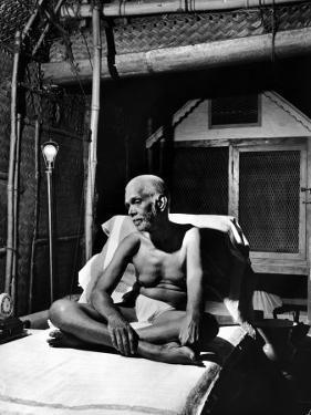 Holy Man Sri Ramana Maharshi Sitting in Bed by Eliot Elisofon