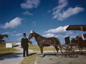 Horse-Drawn Carriage at Castillo De San Marcos National Monument, St Augustine, Florida, 1946 by Eliot Elisofon