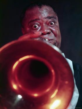 Jazz Musician Louis Armstrong Blowing on Trumpet by Eliot Elisofon