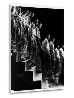 """Marcel Duchamp Walking down Stairs in exposure of Famous Painting """"Nude Descending a Staircase"""" by Eliot Elisofon"""