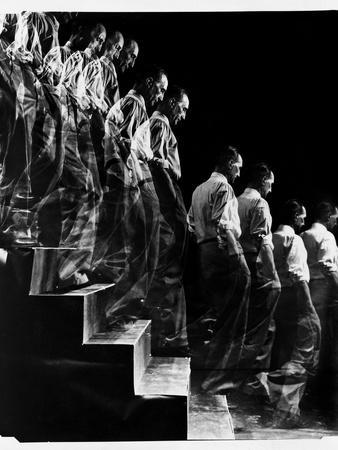 """Marcel Duchamp Walking down Stairs in exposure of Famous Painting """"Nude Descending a Staircase"""""""