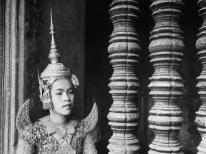 Religious Dancer at Temple of Angkor Wat, Wearing Richly Embroidered and Ornamented Costumes by Eliot Elisofon