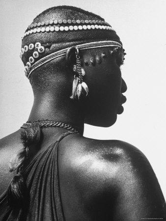 Shilluk Tribe Girl Wearing Decorative Beaded Head Gear in Sudd Region of the Upper Nile, Sudan