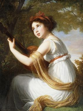Portrait of the Artist's Daughter, Seated Three-Quarter Length, Playing a Guitar, C.1797 by Elisabeth Louise Vigee-LeBrun