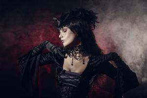 Romantic Gothic Girl in Victorian Style Clothes, Shot over Smoky Background by Elisanth