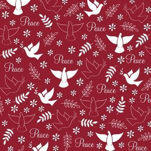 Peace Doves on Red by Elizabeth Caldwell